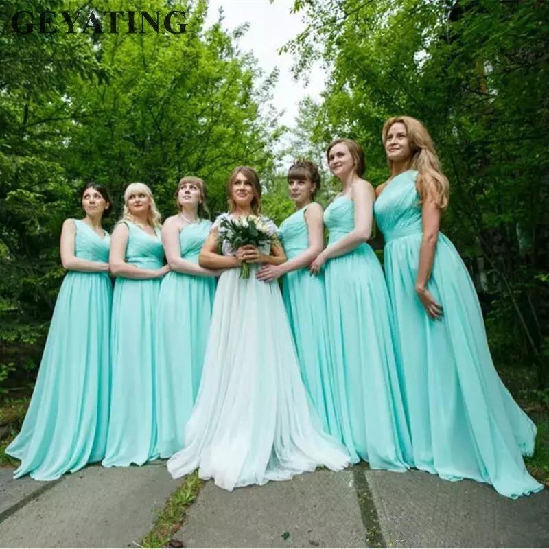 Mint Green Country Bridesmaid Dresses 2018 Blue Chiffon