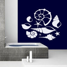 Wall Sticker Vinyl Removable Sea Shell Wall Decal DIY Bathroom Shell Wall Mural Bath Shower Baby Nautical Art Wallpaper AY556 2017 hot sea blue glass mixed grey stone mosaic linear bath shower fireplace kitchen wall tiles luxury art wall sticker lsstg01