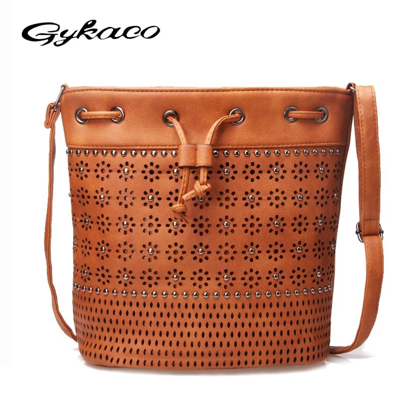 Gykaeo 2017 vrouwen emmer tas vintage klinknagel uitgehold crossbody - Handtassen - Foto 1