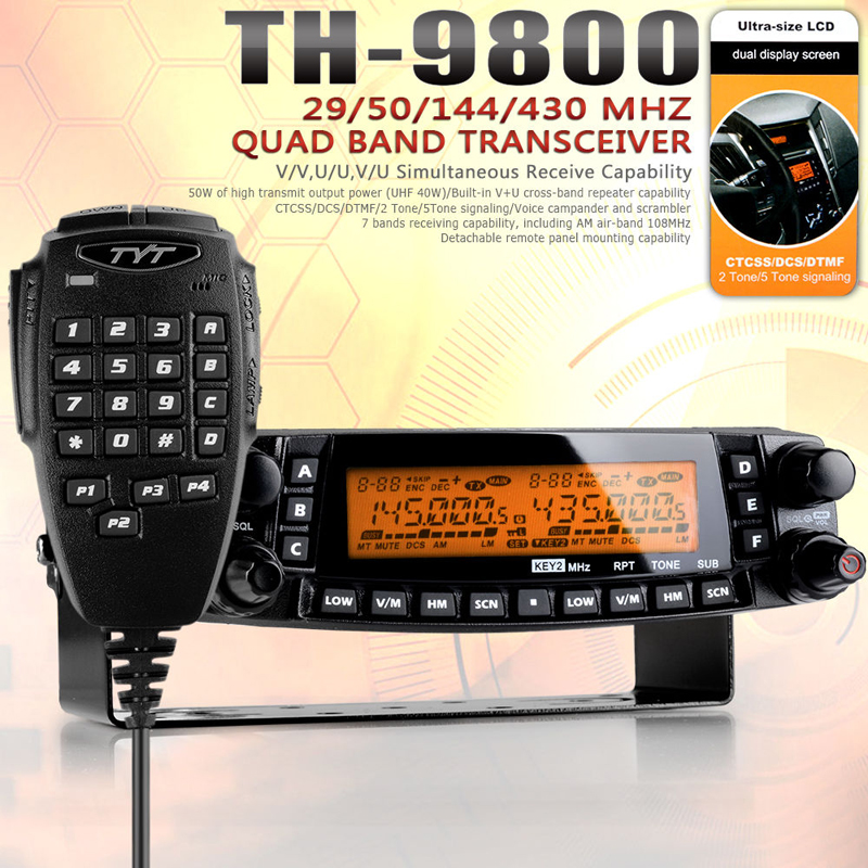 Newest Version <font><b>TYT</b></font> <font><b>TH</b></font>-<font><b>9800</b></font> 50W 809CH Quad Band Dual Display Scrambler CB VHF UHF Transceiver Car Truck Ham Radio+Cable image