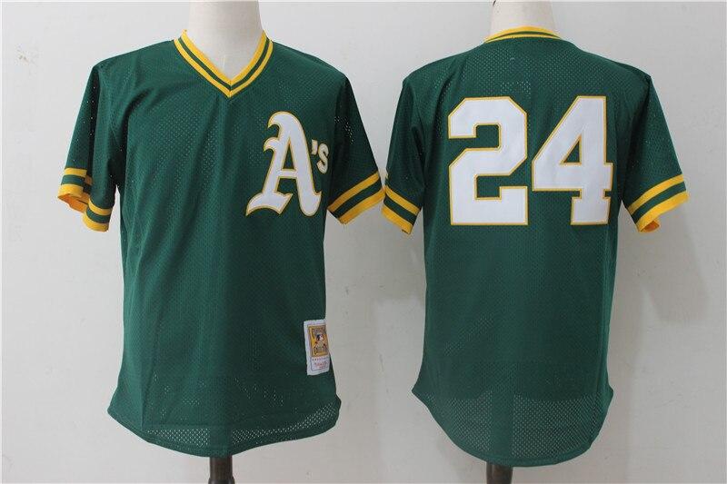23f96ed3a ... Mitchell Ness Mens Oakland Athletics Baseball jerseys Rickey Henderson Reggie  Jackson Cooperstown Mesh Batting Jersey ...