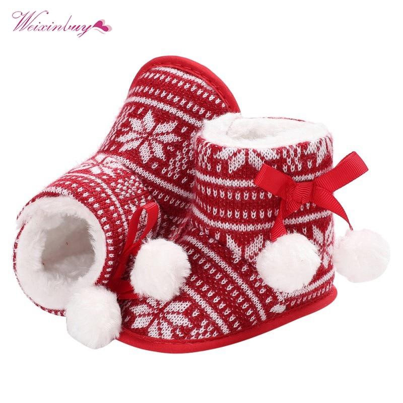Winter Baby Boots Fashion Cute Cartoon Santa Claus Shoes Infant Toddler Boy Girl Super Warm Snowfield Newborn Christmas Booty Обувь