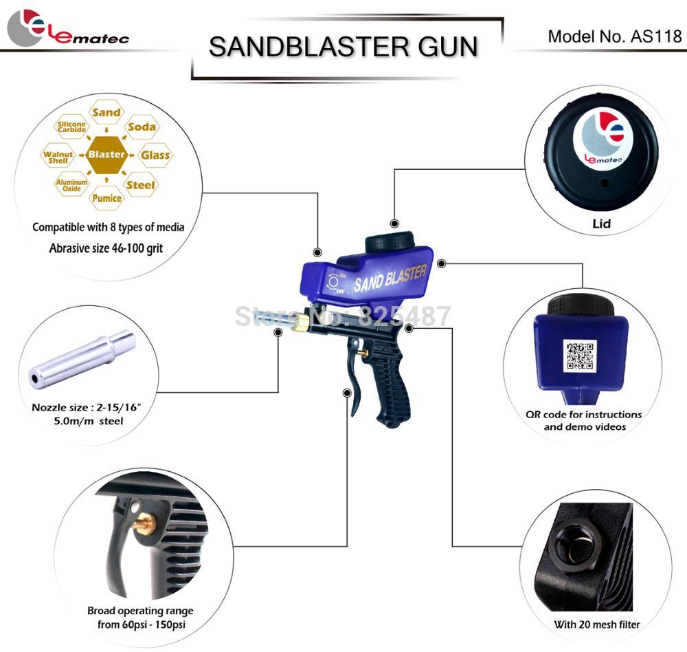 Lematec sandblasting gun with 14 quick connector nylon air hose as118 detail dm ccuart Gallery