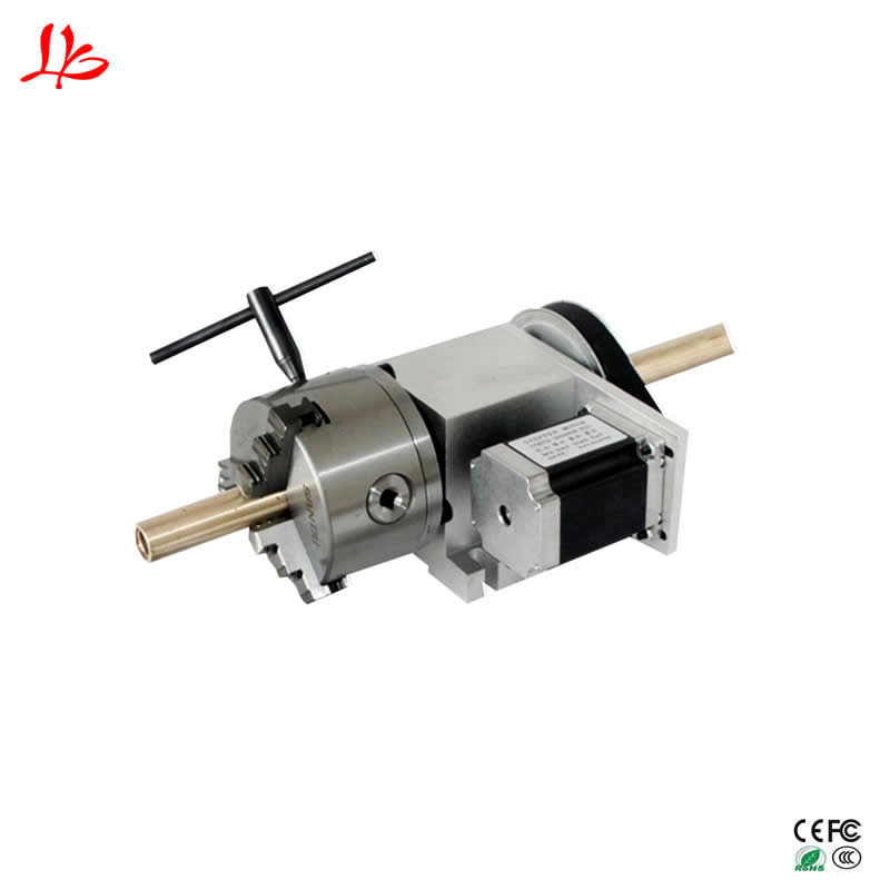 4 jaw Chuck hollow shaft 80mm CNC 4th axis for cnc router