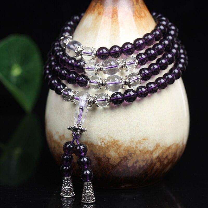 Image 3 - Ожерелье из тибетских буддистских бусин 6 мм, из фиолетовых  кристаллов, 108, браслет для медитацийbeads amazonbeaded medical alert  braceletsbracelet love