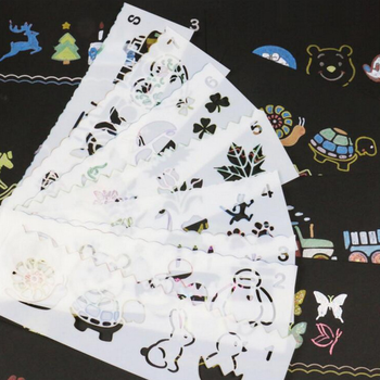 8 Pcs/set Cartoon animals Art Korea Stationery Painting Supplie Graphics Symbols Template Ruler Student Kid Drafting Stencil DIY Rulers