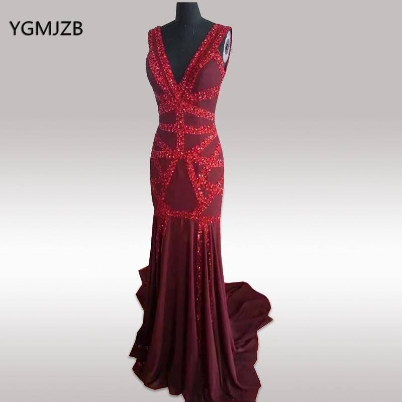 Знаменитост рокли 2018 Секси кристал Beaded V шия отворена назад дълго русалка шифон специални събития вечерни рокли Vestidos De Fiesta