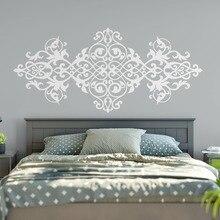 Pegatina de cabecera para pared Vintage estilo barroco diseño Mandala flor vinilo pegatinas de pared maestro dormitorio arte Moraccan Mural DIY SY211
