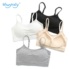 shwyhxly Women One Piece Fixed Cup Wireless Seamless Modal Bralette, Crop Top Stretchy and Foldable, Drop Shipping, 2 pcs/set