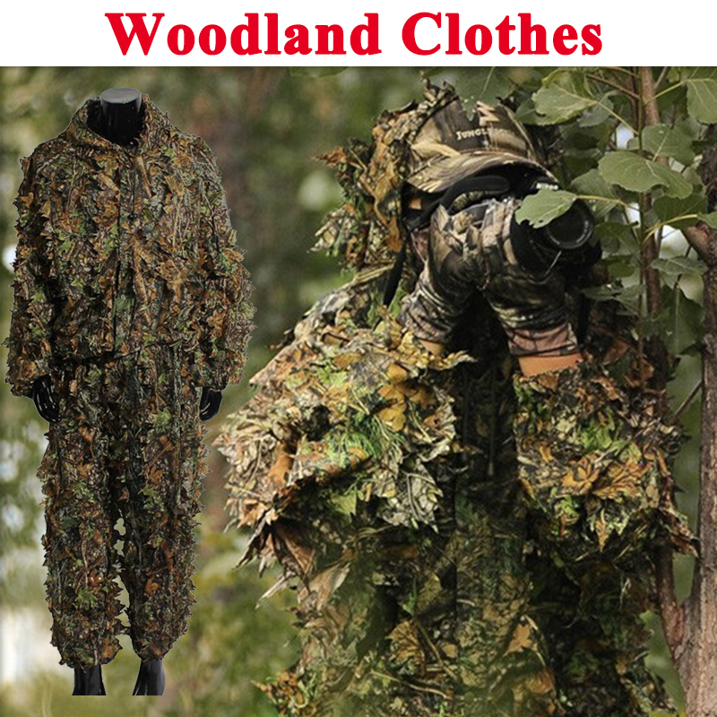 Outdoor Sport Airsoft War Games Woodland Ghillie Suit Shirt + Pants Camouflage Tactical 3D Leaf <font><b>Jungle</b></font> Hunting Clothes image