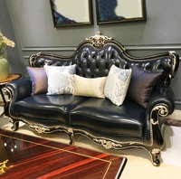 Baroque Royal Palace Tufted High Back Sofa / Handcrafted Curve Detailed Carving / Package:1 seat 2 seat, 3 seat Sofa 1pc Each