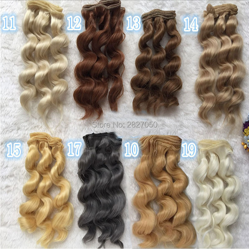 1pc DIY 15cm x 100cm Brunette Blonde Coffee Brown Grey Color bjd dolls Curly Hair Wigs  for 1/3 1/4 BJD fashion long curly hair wigs flaxen brown