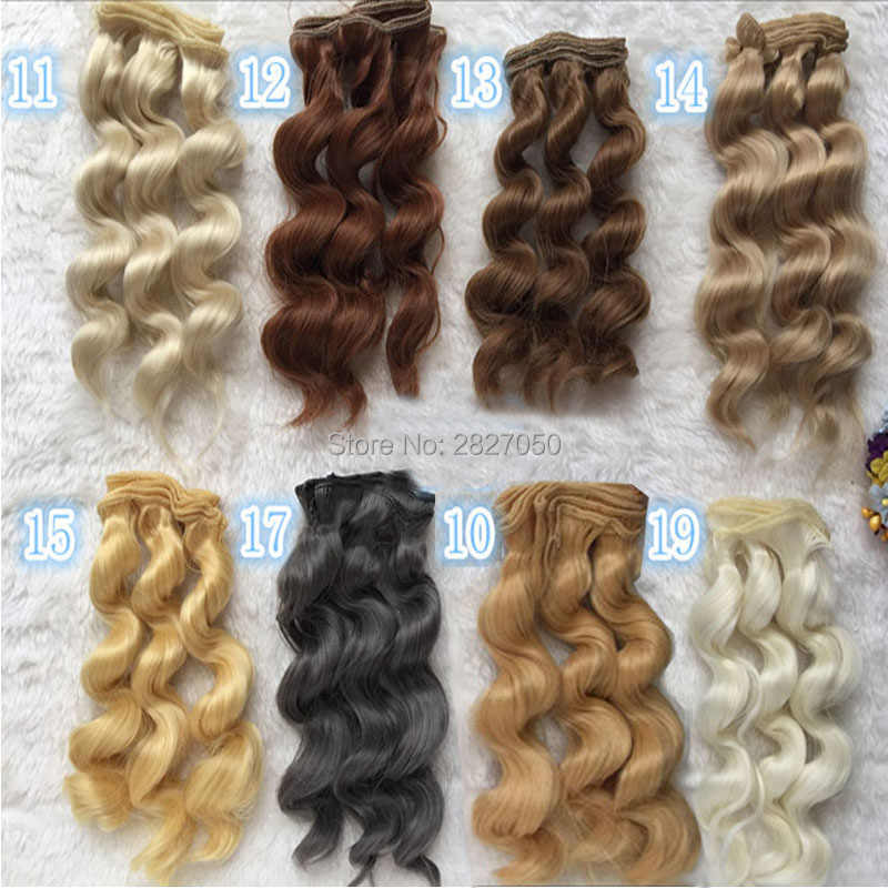 1pc DIY 15cm x 100cm Brunette Blonde Coffee Brown Grey Color bjd dolls Curly Hair Wigs  for 1/3 1/4 BJD
