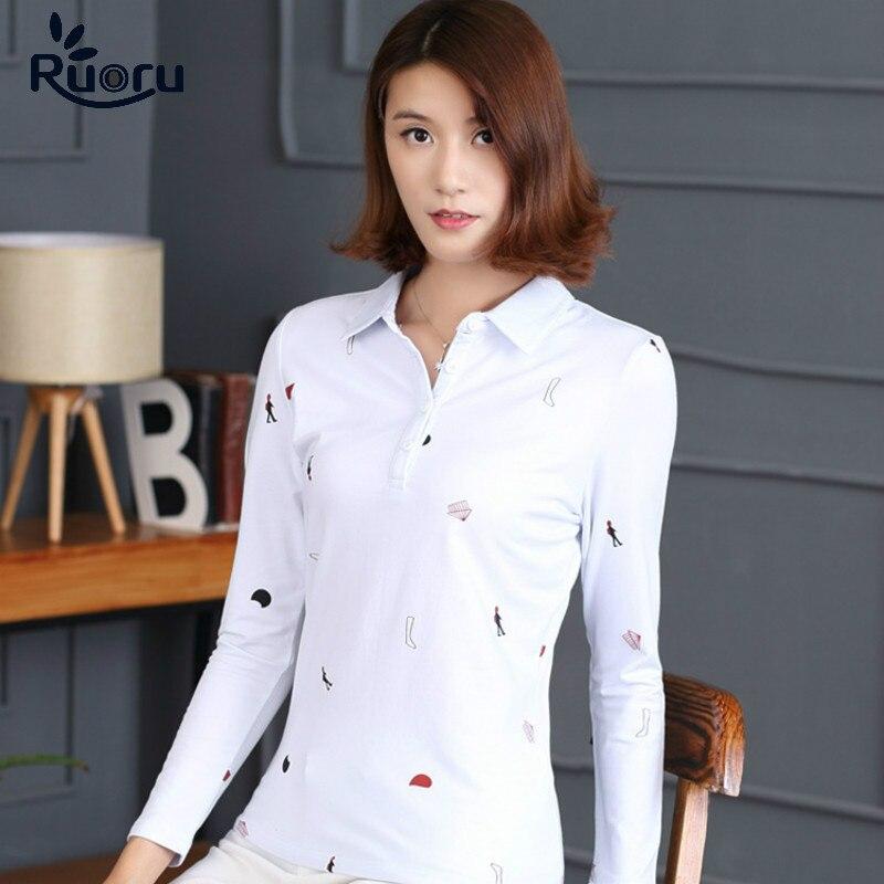 Ruoru M - 4XL Large Plus Size White Color Long Sleeve Polo Women Shirt Autumn Winter Slim Polo Shirt Cotton Women Fashion Tops