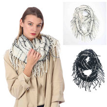 Womens Bohemia Tassels Knitted Cashmere Ponchos Shawl Cardigans Sweater Coat Ladies' autumn and winter imitation cashmere scarf(China)