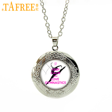 TAFREE PE Sports Necklace keep calm love Gymnastics locket dome round glass a great gift men women special jewelry SP147