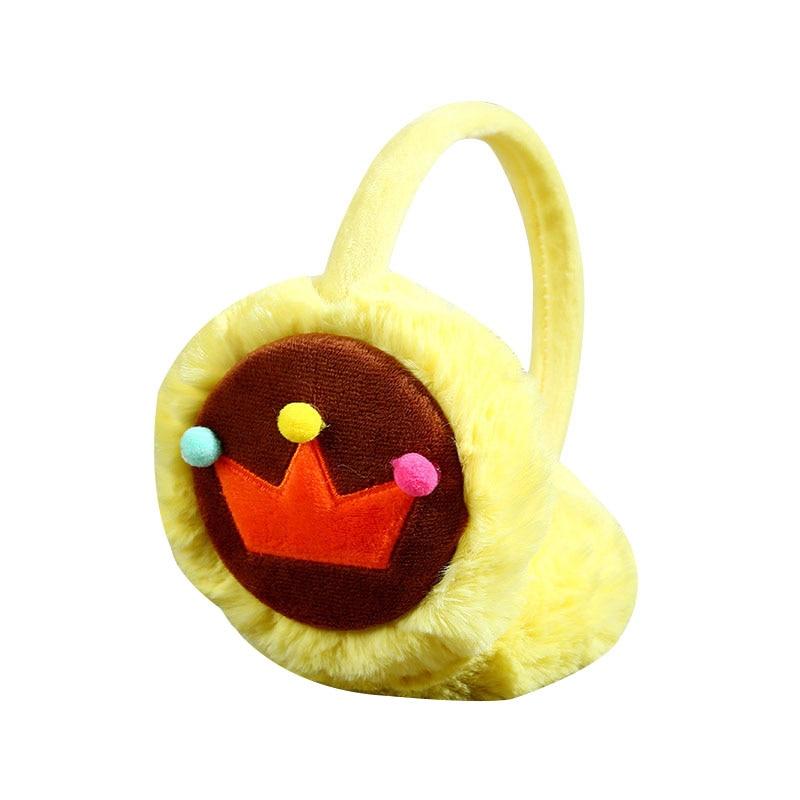 1 Pcs Women Winter Warm Ear Muffs Cute Faux Fur Cartoon Crown Plush Earmuffs FS99