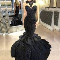 Пикантные черные русалка атласные платья для выпускного блёстки оборками Длинные вечерние платья в пол модное вечернее платье индивидуаль
