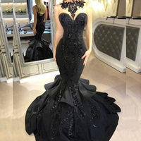 Sexy Black Mermaid Satin Prom Gowns Sequins Ruffles Long Evening Gowns Floor Length Fashion Party Dress Custom Made