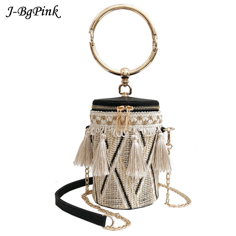 Japan Style Bucket Cylindrical Straw Bags Barrel-Shaped Woven Women Crossbody Bags Metal Handle Shoulder Tote Bag