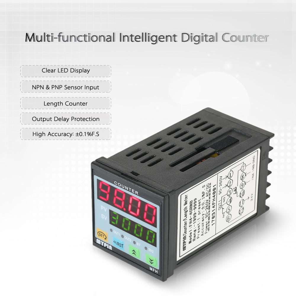 цена на MYPIN 90-260V AC/DC Preset 4 Digital Counter Intelligent Length Counter Multi-purpose Length Meter machine Relay Output PNP NPN