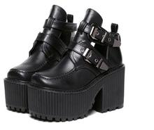women chunky block high heel platform wedge heel shoes harajuku gothic cut out ankle boots Botas Femininas creepers biker shoes
