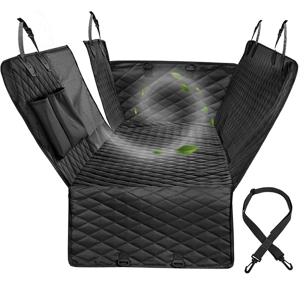 Dog Car Seat Cover View Mesh Waterproof Pet Carrier Car Rear Back Seat Mat Hammock Cushion Protector With Zipper And Pockets 7