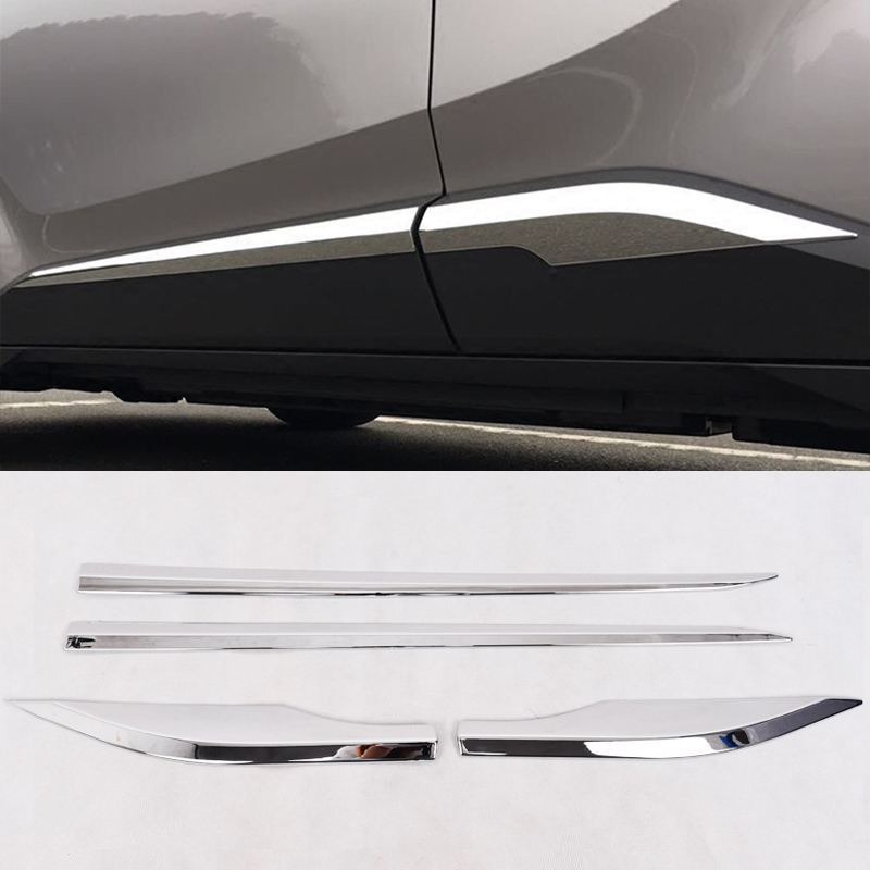 For Toyota CHR C-HR 2016 2017 2018 ABS Chrome Side Door Body Molding Cover Trim Side Door Protective Trim Accessories Parts 4pcs dwcx new fashion 4pcs car styling silver abs plastic matt inner door handle cover trim 17 6 x 6 7cm fit for toyota chr 2017