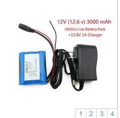 12 V 3000 mAh 3S 18650 Li-ion Rechargeable battery Pack for CCTV Camera + 12.6V 1A Charger +Free shopping