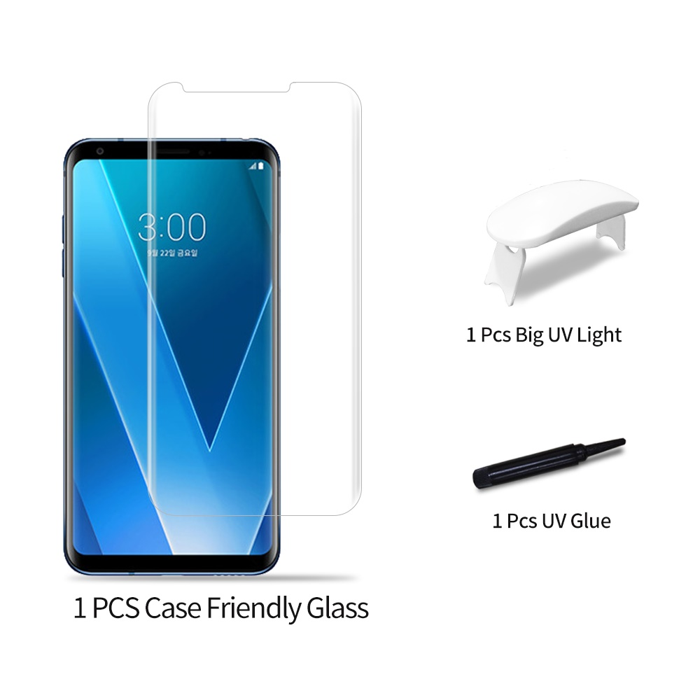 50pcs/100pcs Full Glue Tempered Glass Film for LG V30 Full Screen Coverage 3D UV Light Nano Liquid Sceen Protector Film