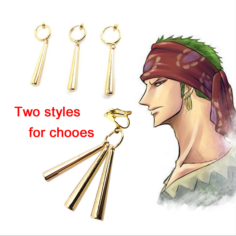 Hot Anime Fashion Jewelry Earring One Piece Zoro Earrings Droplets Dangle Earrings Cosplay Props Gifts