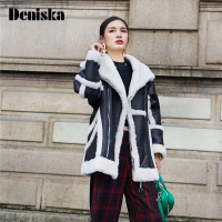 DENISKA 2017 New Shearling Sheepskin Coats Women Thick Suede Jackets Long Sleeve Overcoats Winter Lambs Wool