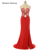 Luxury See Through Sexy Red Mermaid O Neck Beaded Evening Dresses 2017 with Rhinestone Women Party Prom Gown vestido de festa