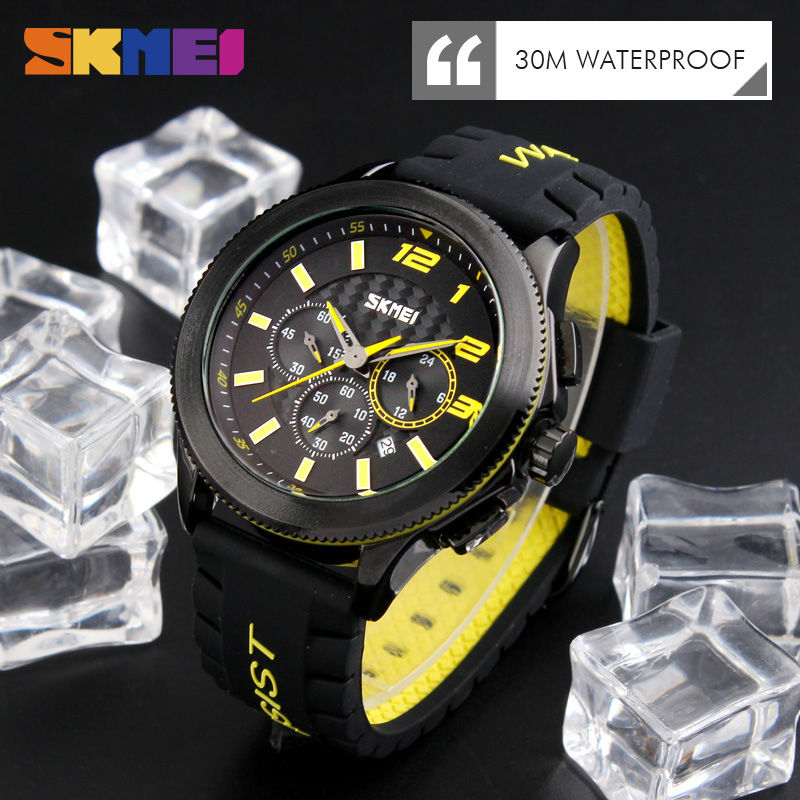 SKMEI Men Quartz Watches Fashion Casual Silicone Strap Wristwatches Water Resistant Stopwatch Complete Calendar Casual Watches