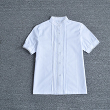 Japanese School Girls lovely Lace edge stand collar Accordion Pleat white short-sleeve shirt Tops JK Cosplay