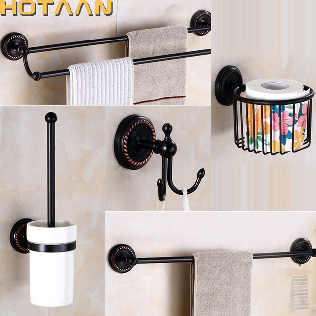 2017 Free Shipping,oil Rubbed Bronze Bathroom Accessories Set,Robe  Hook,Paper Holder