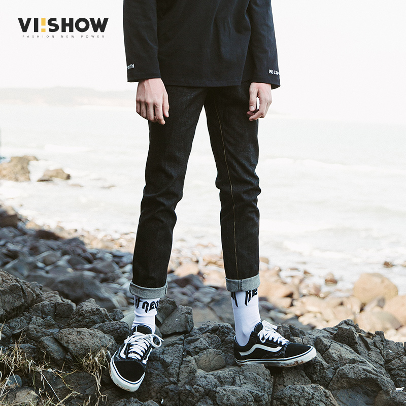 VIISHOW 2017 Fashion Slim Jeans Mens Brand Clothing Dark Blue denim Trousers Male Straight High Quality Casual Pants NC1873173 jeans men s blue slim fit fashion denim pencil pant high quality hole brand youth pop male cotton casual trousers pant gent life