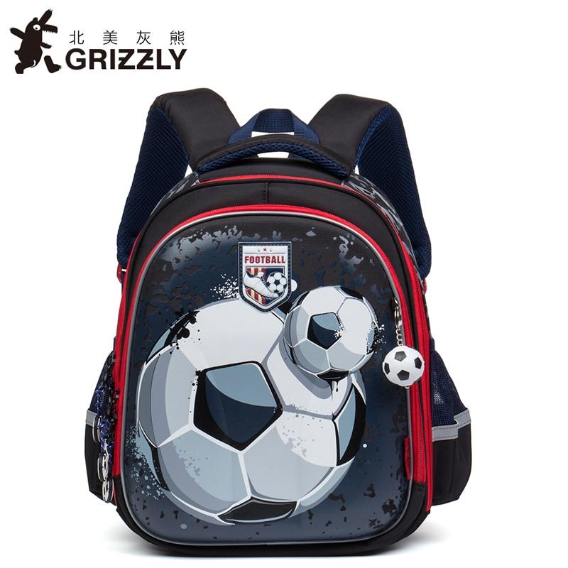 GRIZZLY Kids Cartoon Bags Children Schoolbags for Boys Orthopedic Waterproof Backpacks Primary School Bags for Grade