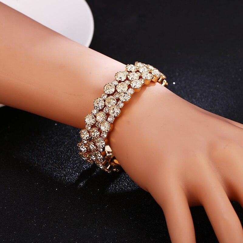 HOCOLE 2019 Trendy Crystal Bracelet Bangle Female Fashion Wedding Jewelry Gold Silver Rhinestone Bangles Bracelets For Women in Bangles from Jewelry Accessories