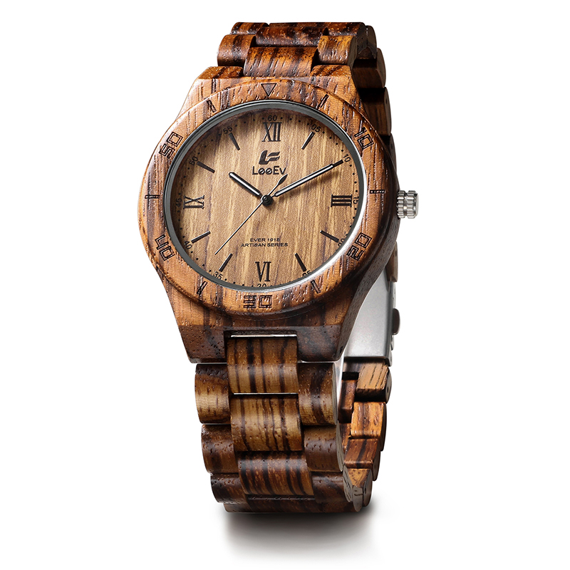 LeeEv EV1918 Mens Wood Watch for Men HandCrafted Zebra Sandal Wood Vintage Wooden Watches Mens Gifts