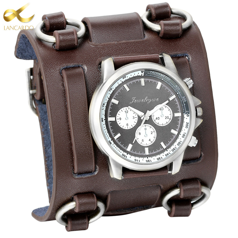 LANCARDO Men's Watches Punk Retro Tachymetre Wide Strap Watch Male Reloj Clock Leather Bracelet Quartz Military Man WristWatch