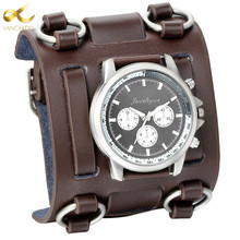 лучшая цена Lancardo Punk Retro Tachymetre Wide Strap Watches Men Punk Watch Leather Bracelet Quartz Wrist Watch For Men Women Gifts Clock