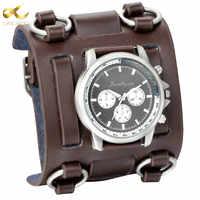 LANCARDO montres homme Punk rétro tachymètre large Bracelet montre homme Reloj horloge cuir Bracelet Quartz militaire homme montre-Bracelet