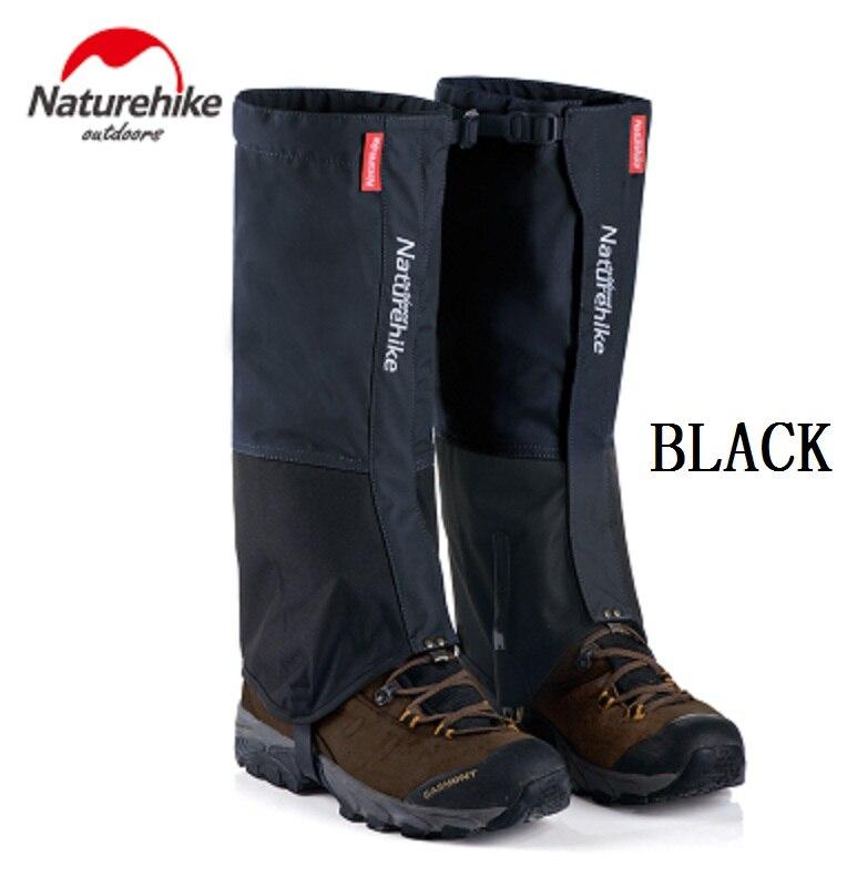 Naturehike Black Waterproof Gaiters for Men and Women Leg Warmers for Hiking Cycling