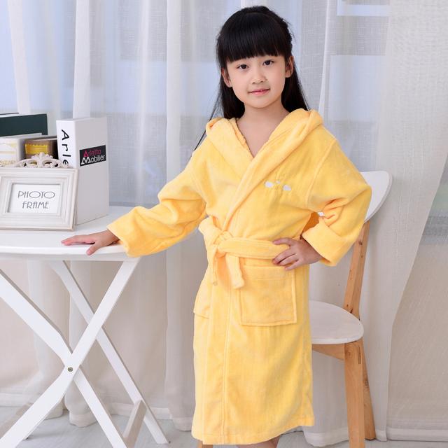 Cor amarela linda Bonito Robe De Algodão quente terry robe