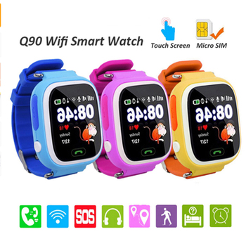 Умные детские часы Q90 анти-потерянный GPS SOS Вызов позиционирования часы-телефон с 1,22 дюймов Цвет Сенсорный экран для безопасности Смарт-часы