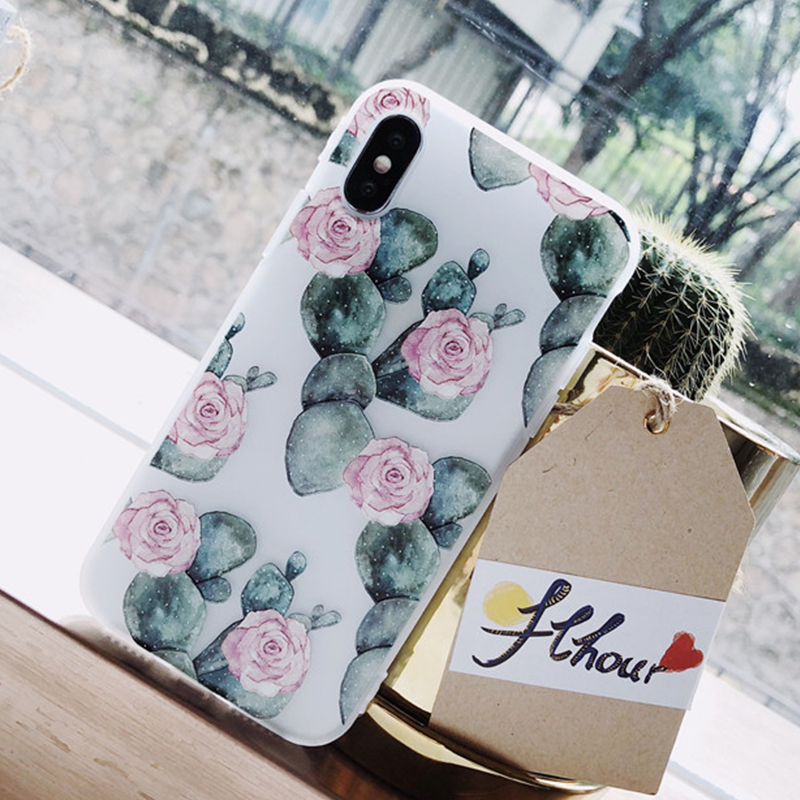 Relief Green Cactus Flower Pattern Phone Case for Iphone 7 Plus Soft TPU Silicon Funda Coque for Iphone 6 6S 8 Plus X 10 Case