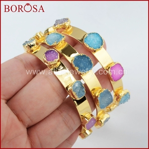 Image 2 - BOROSA Mix Farben tiny druzy armreif bunte 7 steine Kristall druzy armband armreif mode schmuck edelsteine für frauen G1098