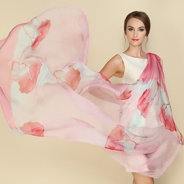 2016 Зима 100% реального шелковый шарф шали обруча хиджаб для женщины долго стиль цифровой печати классический цветочный дизайн большой размер 175x108 СМ