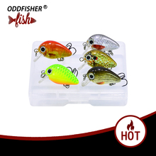 5PCS/Box Crankbait 2.5cm Fly Fishing Lures Topwater Wobblers Quality Mini Swimbait Hard lure Artificial Baits with Plastic Box